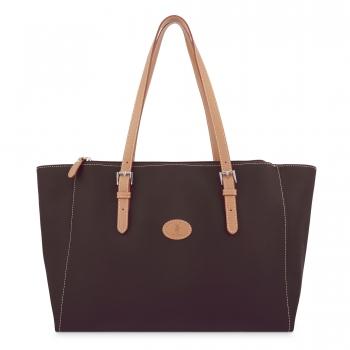 Bolso Shopping mujer en lona y piel vacuno color marrón - Base