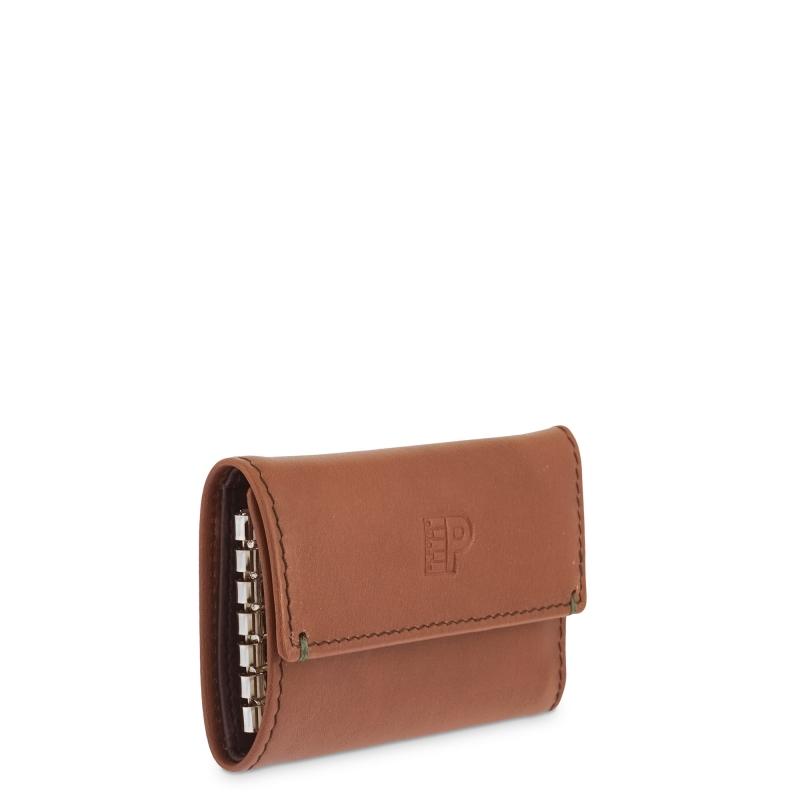 Llavero 6 llaves con monedero billetero tarjetero hombre en piel vacuno color cuero - Apache