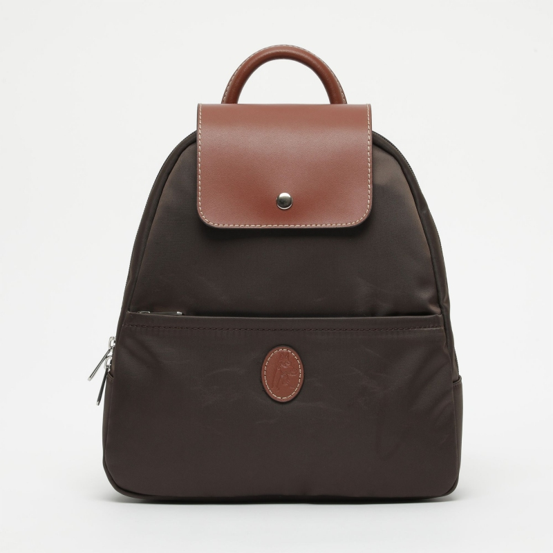 Mochila bolso mujer en lona y piel vacuno marrón-cuero-Paris
