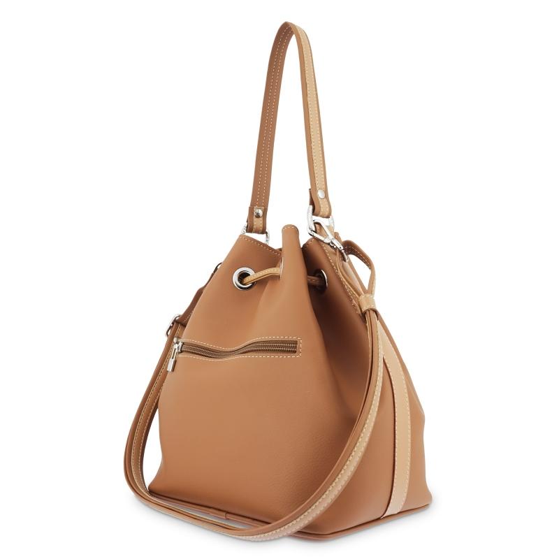 Bolso saco mujer en lona color cuero-Angula
