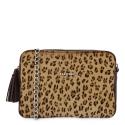 Bolso Bandolera mujer en piel vacuno y lona color marrón - Leopardo