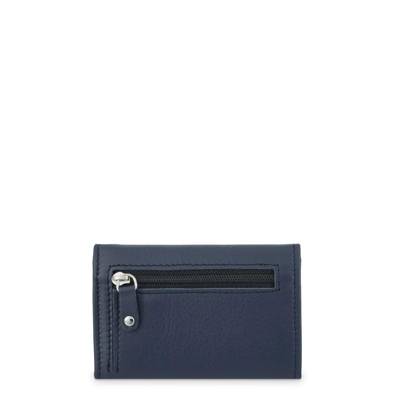 Llavero 6 llaves con monedero billetero tarjetero hombre en piel vacuno color azul- Apache