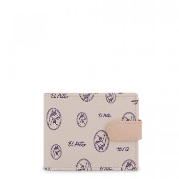 Cartera monedero interior lona canvas piel vacuno vintage beige-EL POTRO