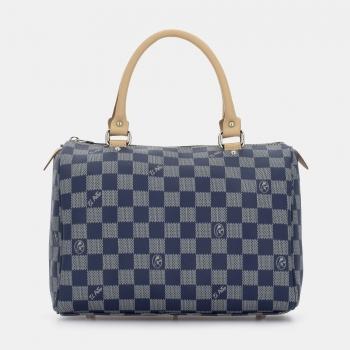 Bolso Bowling mujer en lona y piel vacuno color azul - Chess