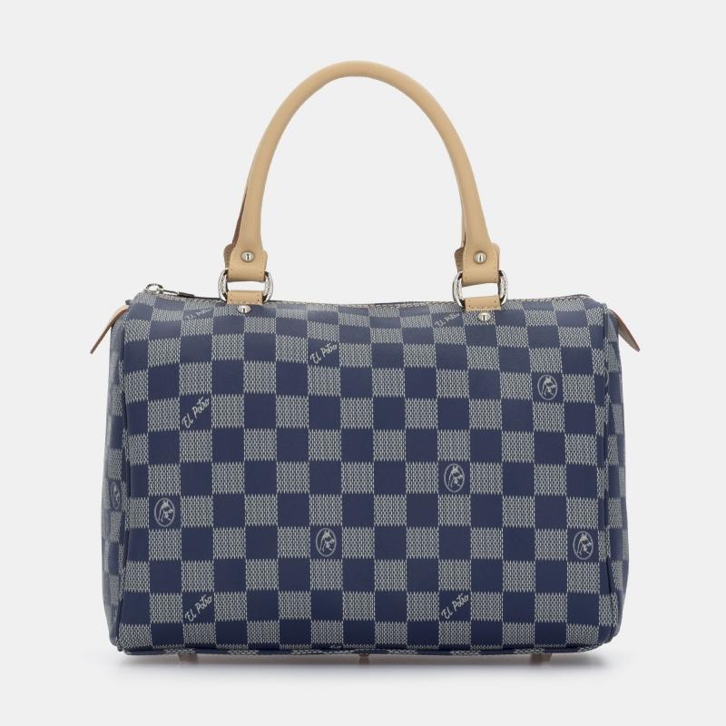 Bolso Bowling mujer en lona y piel vacuno color azul- Chess