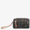 Bolsa monedero mujer en lona y piel vacuno color negro- Vintage