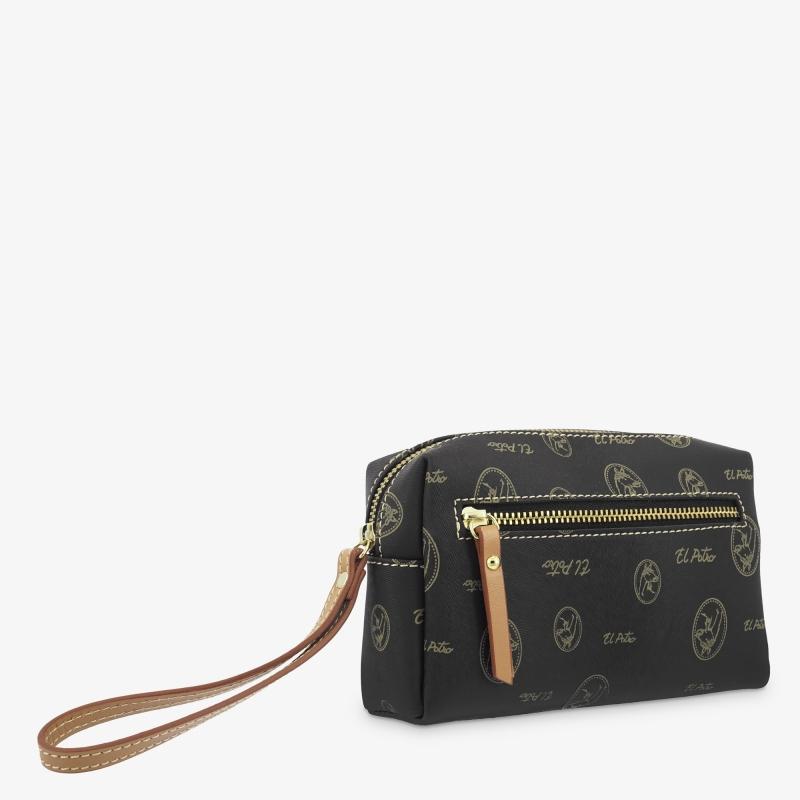Bolsa monedero mujer en lona y piel vacuno color negro - Vintage