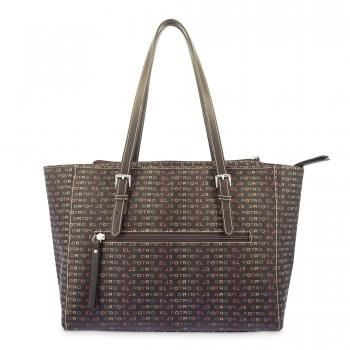 Bolso Shopping mujer en lona y piel vacuno color marrón - Multicolor