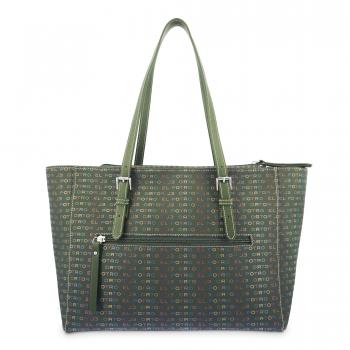 Bolso Shopping mujer en lona y piel vacuno color verde - Multicolor