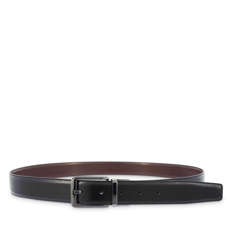 Cinturón reversible hombre en piel vacuno color negro/cuero- Box