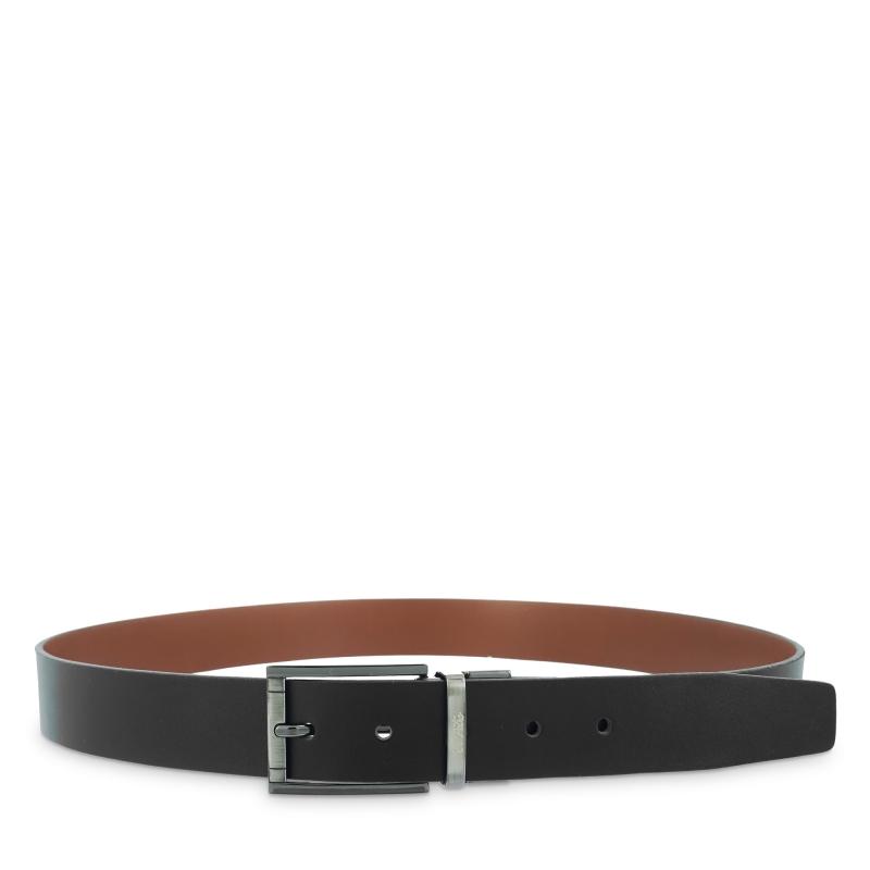 Cinturón reversible hombre en piel vacuno color negro/cuero - Box