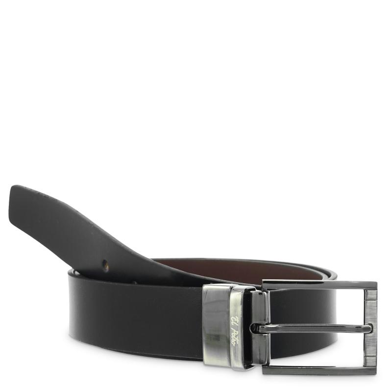Cinturón reversible hombre en piel vacuno color negro/marrón- Box