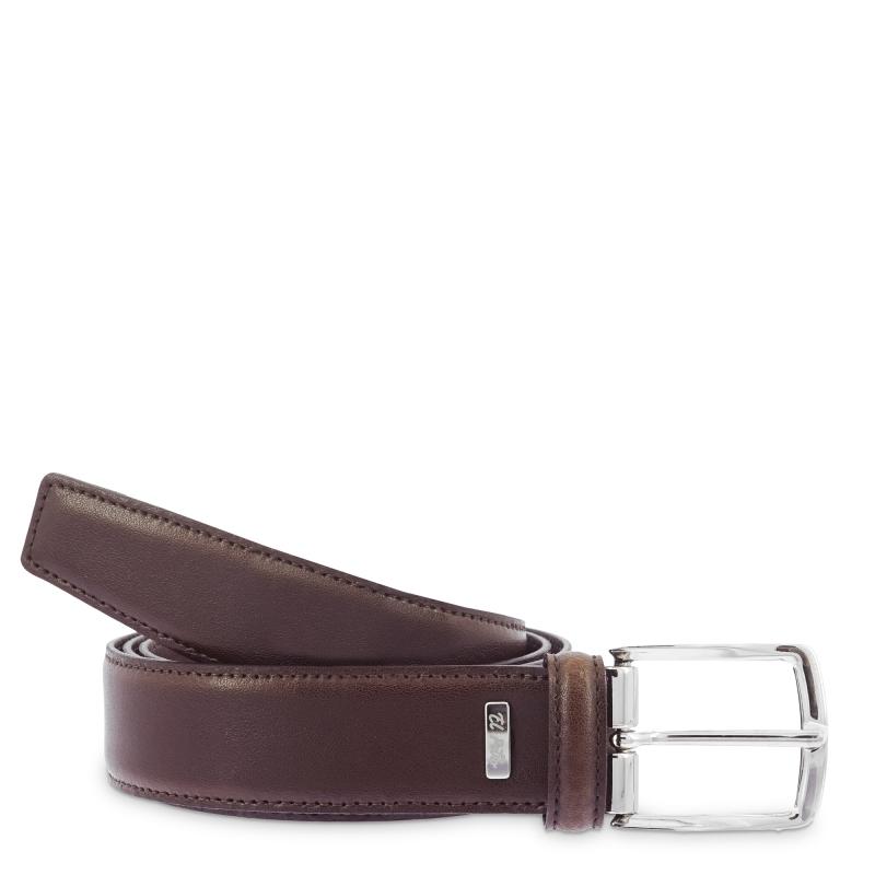 Cinturón hombre vestir básico en piel vacuno color marrón- Box