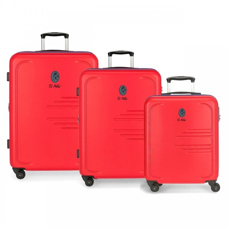 Juego set 3 maletas EL POTRO Batran rígida rojo