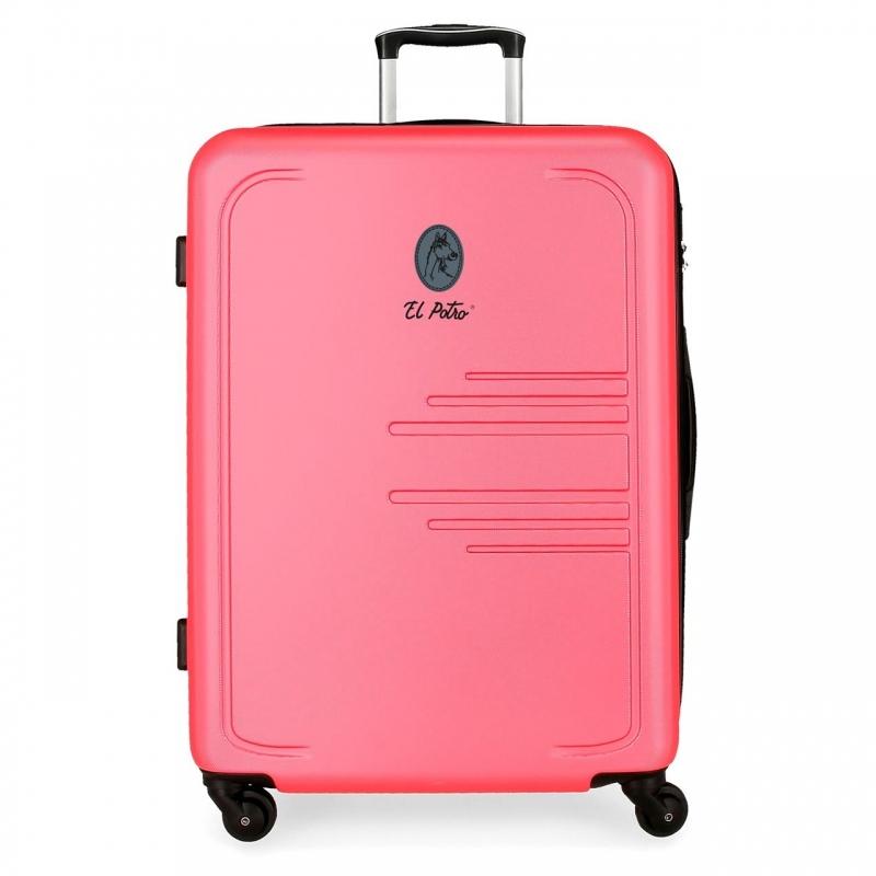 Maleta grande EL POTRO Batran rígida 79cm rosa
