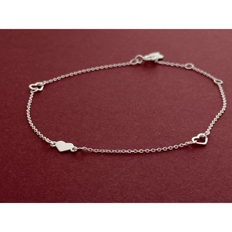 Pulsera ajustable ajustable de plata 925-LINE-CUORE