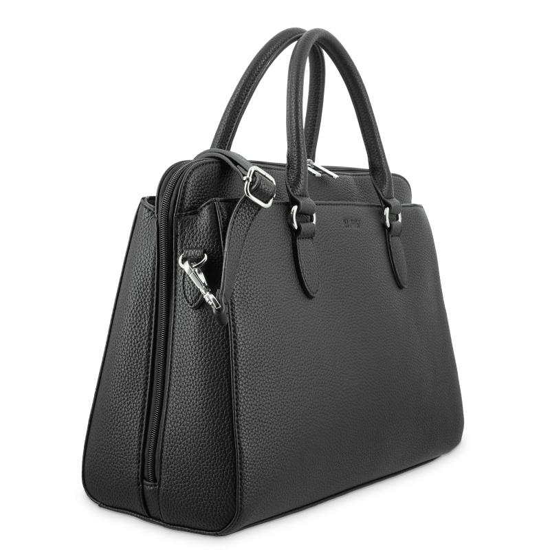Bolso shopping 3 cremalleras de El Potro color negro-Siena
