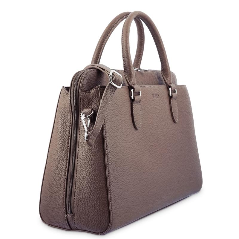 Bolso shopping 3 cremalleras de El Potro color marrón-Siena