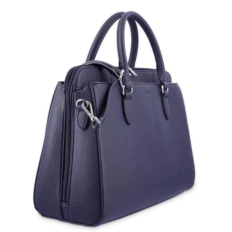 Bolso shopping 3 cremalleras de El Potro color azul-Siena