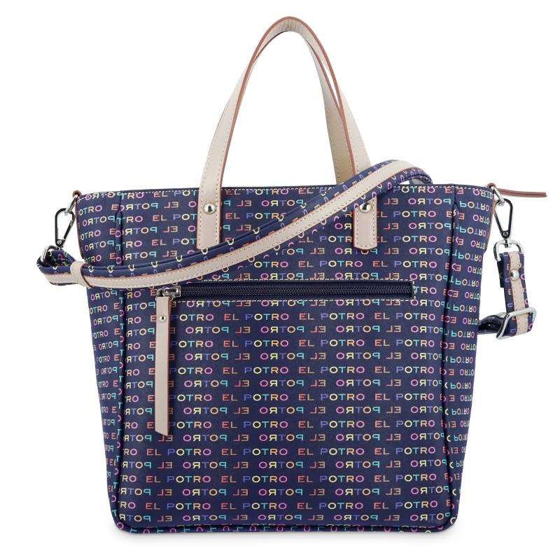 Bolso shopper El Potro de lona y piel vacuna azul con print de la marca multicolor azul-EL POTRO