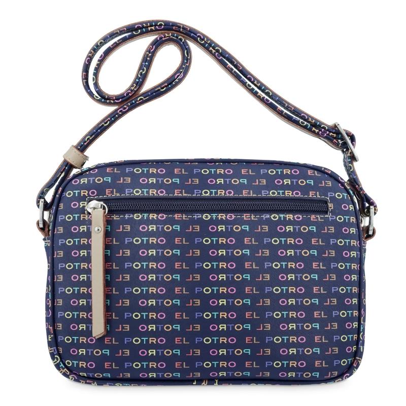 Bolso bandolera  de lona y piel vacuna en azul con print de la marca multicolor-EL POTRO
