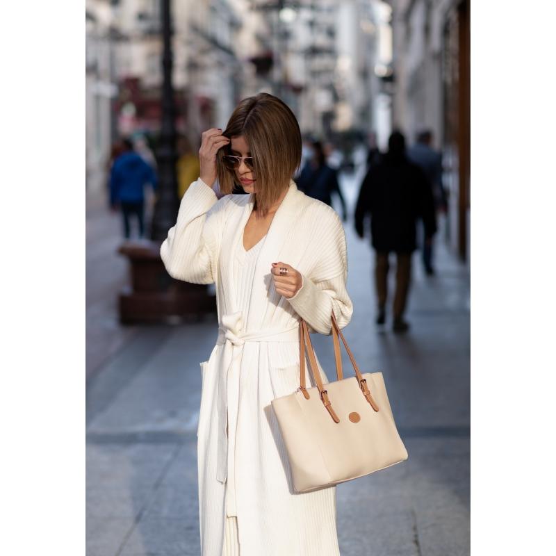Bolso Shopping mujer en lona y piel vacuno color beige- Base