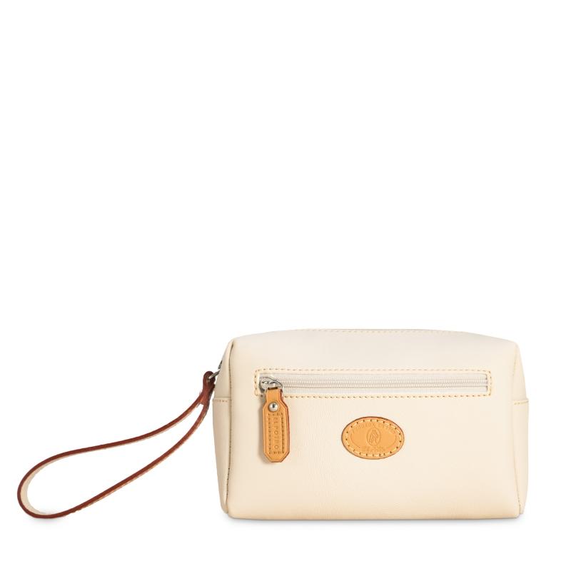Bolsa monedero mujer en lona y piel vacuno color beige- Base