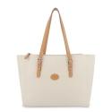 Bolso Shopping mujer en lona y piel vacuno color beige - Base