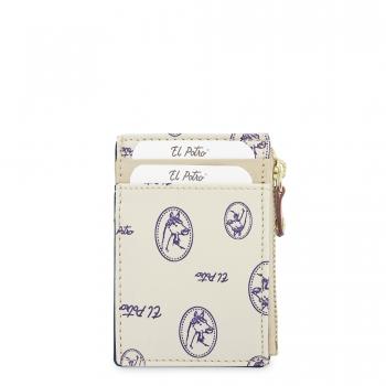 Tarjetero monedero mujer en lona y piel vacuno color beige - Vintage