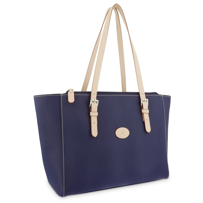 Bolso Shopping mujer en lona y piel vacuno color azul- Base