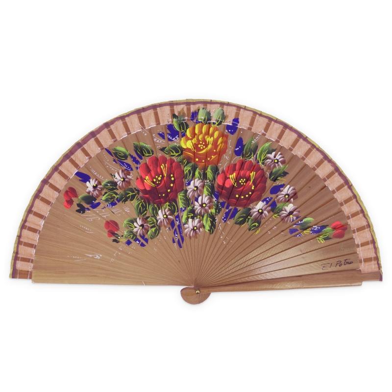 Abanico madera flores- El Potro