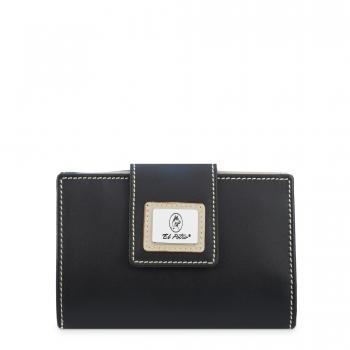 Cartera billetera mujer en piel vacuno color negro - Sedalina