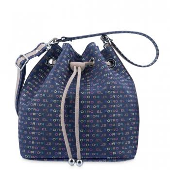 Bolso Saco mujer en lona y piel vacuno color azul - Multicolor