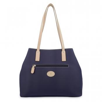 Bolso Shopping mujer en lona y piel vacuno color azul - Base