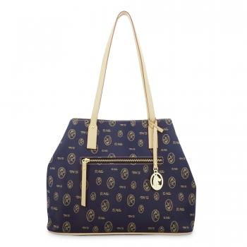 Bolso Shopping mujer en lona azul y piel vacuno color cuero - Vintage