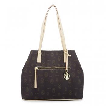 Bolso Shopping mujer en lona marrón y piel vacuno color cuero-Vintage