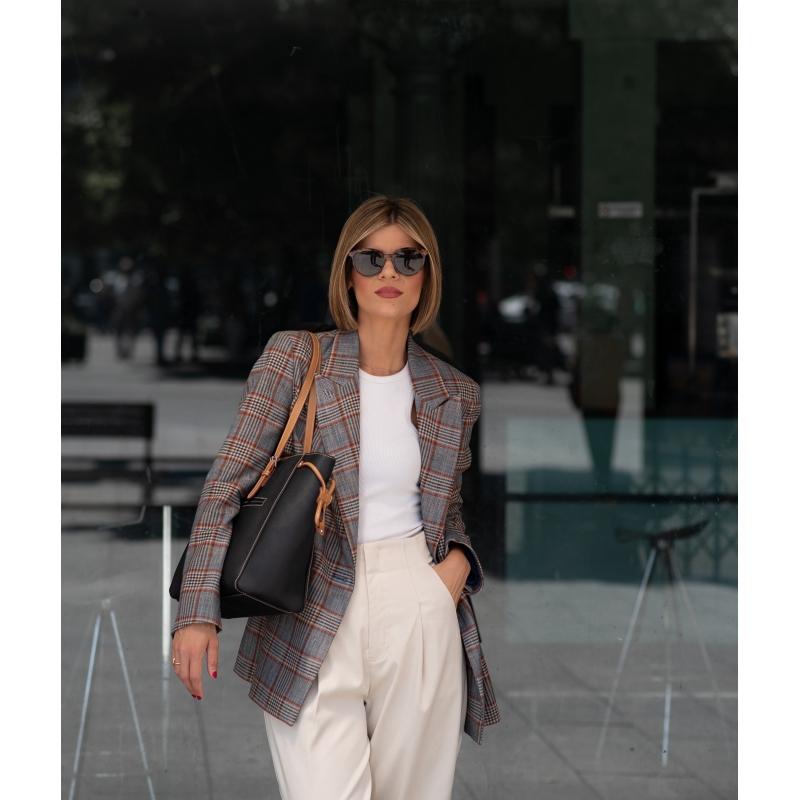 Bolso Shopping mujer en lona y piel vacuno color NEGRO - Base
