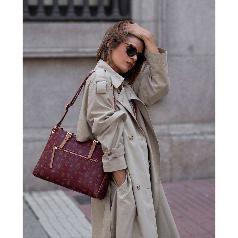 Bolso shopping mujer lona y piel vacuno color burdeos-El Potro