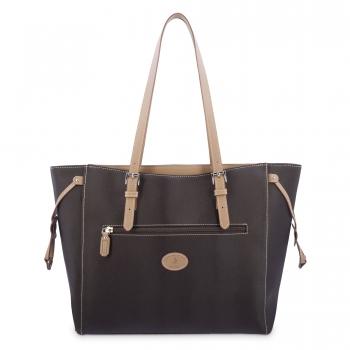 Bolso Shopping mujer en lona y piel vacuno color marrón- Base