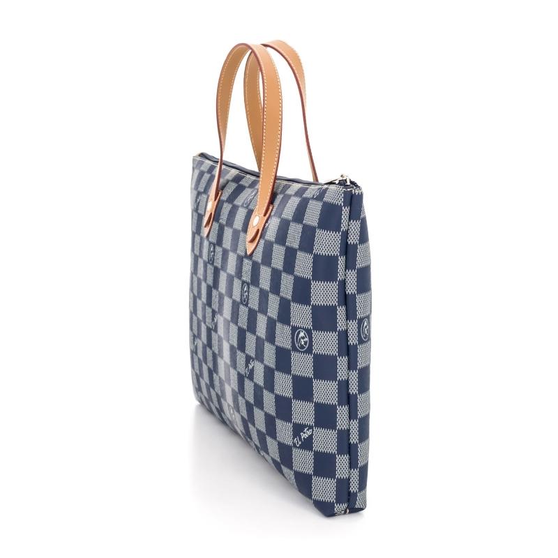 Bolso Carpeta Maletín mujer en lona y piel vacuno color azul - Chess