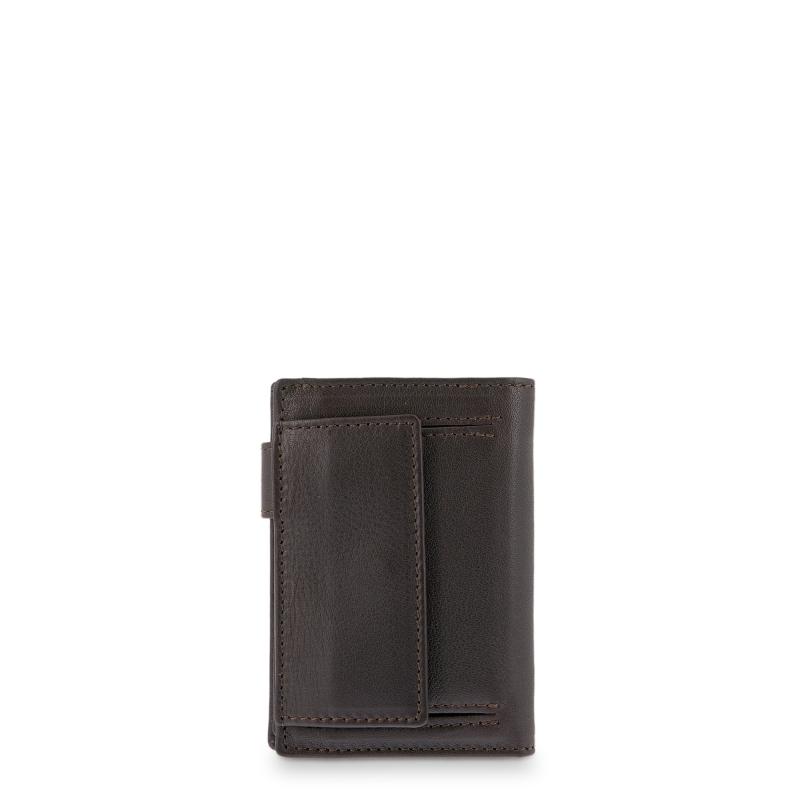 Cartera tarjetero billetera con monedero exterior hombre en piel vacuno color marrón - Box