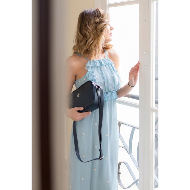 Bolso bandolera mujer en piel vacuno azul-Spring