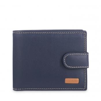Cartera billetera con monedero interior hombre en piel vacuno color azul - Mate